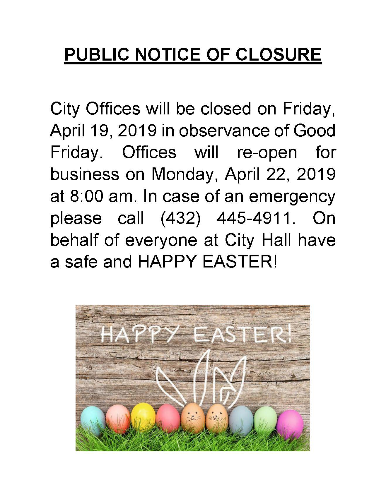 City Hall Closure 04/19/2019