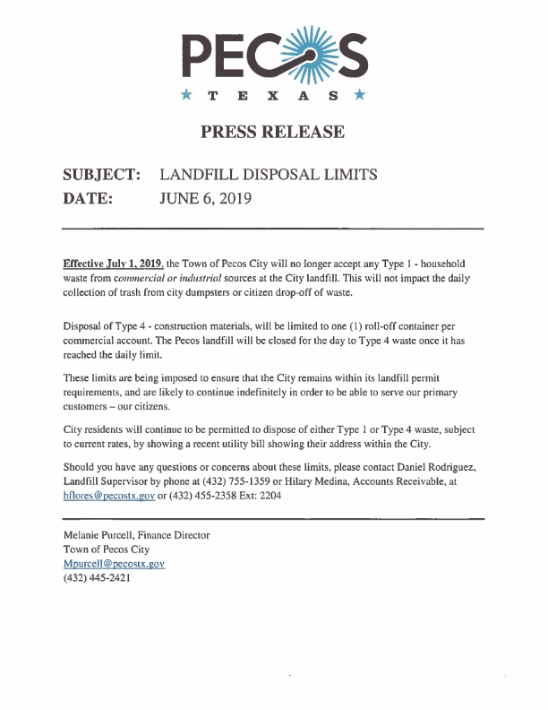 Landfill Limits Press Release