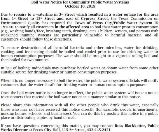 Boil Water Notice for Community Public Water Systems